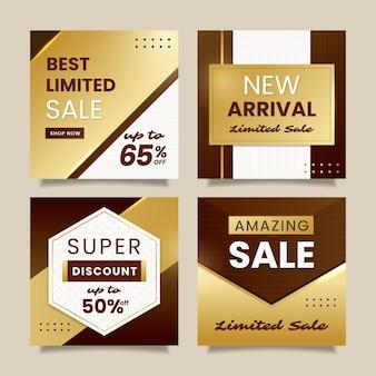 Verloop gouden luxe instagram posts collectie