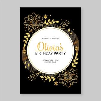 Verloop gouden luxe verjaardagsuitnodiging sjabloon