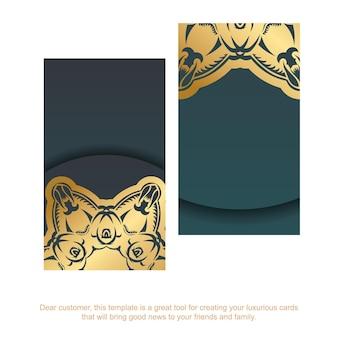 Verloop groen visitekaartje met vintage gouden patroon voor uw bedrijf.