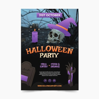 Verloop halloween verticale partij flyer sjabloon met foto
