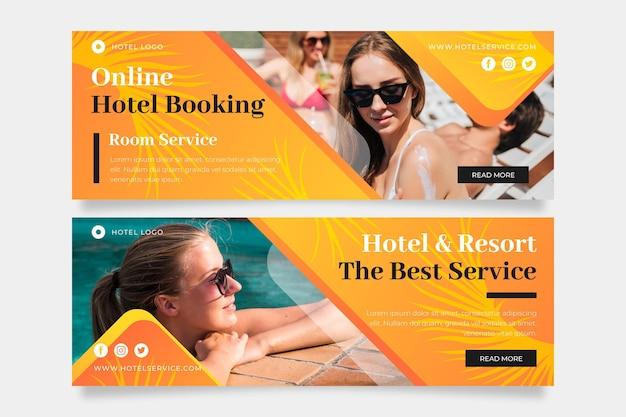 Verloop hotel sjabloon voor spandoek met foto