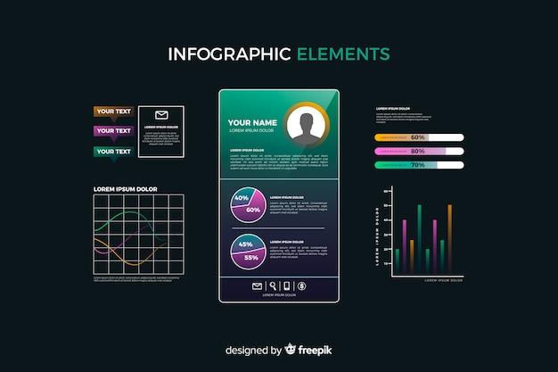 Verloop infographic element collectie