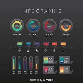 Verloop infographic elementen met donkere achtergrond
