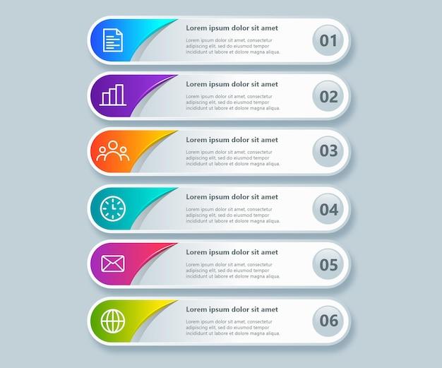 Verloop infographic set met 6 stappen