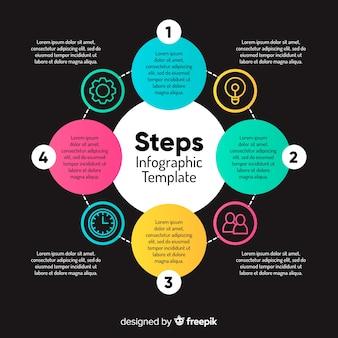 Verloop infographic stappen sjabloon