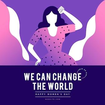 Verloop internationale vrouwendag illustratie met vrouw die vuist opheft