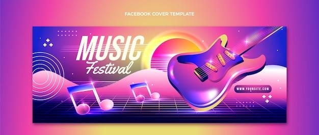 Verloop kleurrijk muziekfestival facebook voorbladsjabloon