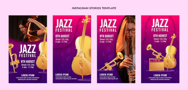 Verloop kleurrijke muziekfestival instagramverhalen