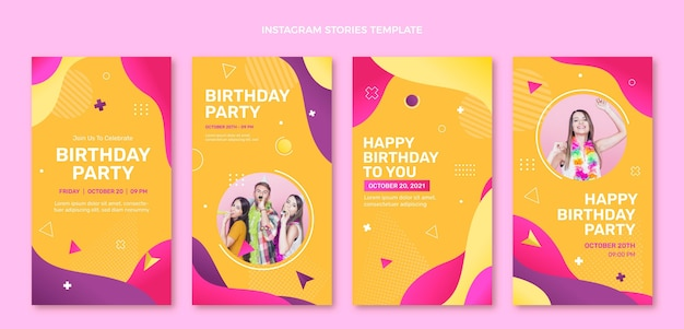 Verloop kleurrijke verjaardag ig verhalen
