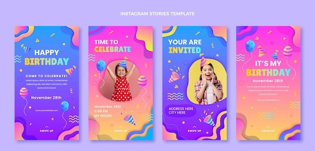 Verloop kleurrijke verjaardag instagram verhalen