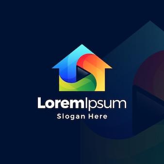 Verloop media afspeelknop huis logo ontwerpsjabloon