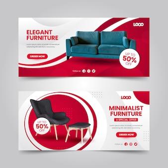 Verloop meubels verkoop banners met foto