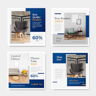 Verloop meubels verkoop instagram post collectie Gratis Vector