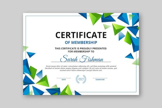 Verloop modern certificaatsjabloon
