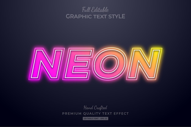 Verloop neon bewerkbaar teksteffect