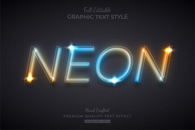 Verloop neon bewerkbare teksteffect lettertypestijl
