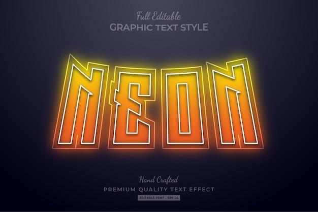 Verloop neon oranje bewerkbaar teksteffect
