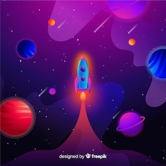 Verloop platte raket in de ruimte
