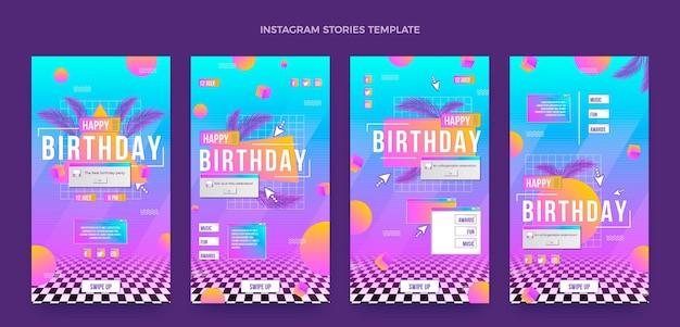 Verloop retro vaporwave verjaardag instagramverhalen