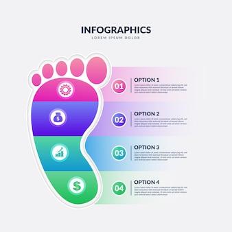 Verloop sjabloon voetafdruk infographics