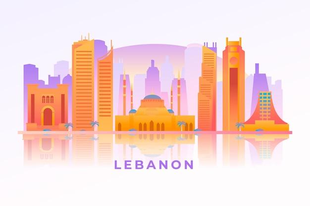 Verloop skyline van de natie van libanon