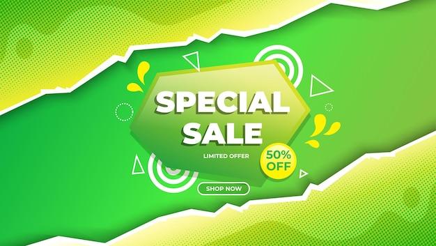 Verloop speciale verkoop groene achtergrond sjabloon