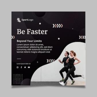 Verloop sport kwadraat flyer-sjabloon