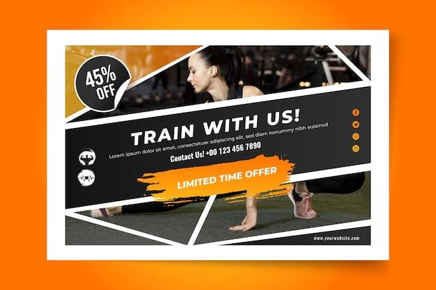 Verloop sport sjabloon voor spandoek Gratis Vector