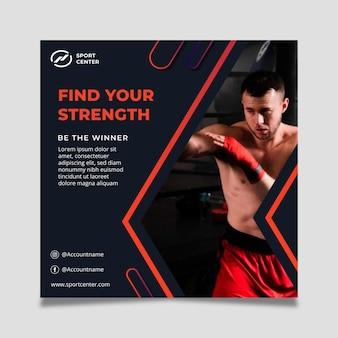Verloop sport vierkante folder sjabloon met mannelijke bokser