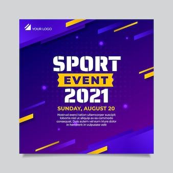 Verloop sportevenement kwadraat flyer sjabloon