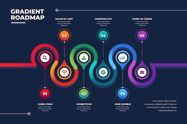 Verloop stappenplan infographic sjabloon