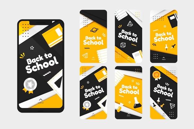 Verloop terug naar school instagram verhalencollectie Gratis Vector