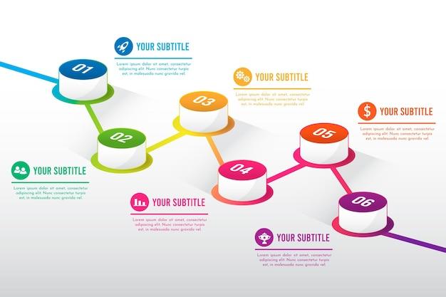 Verloop tijdlijn infographic sjabloon Gratis Vector