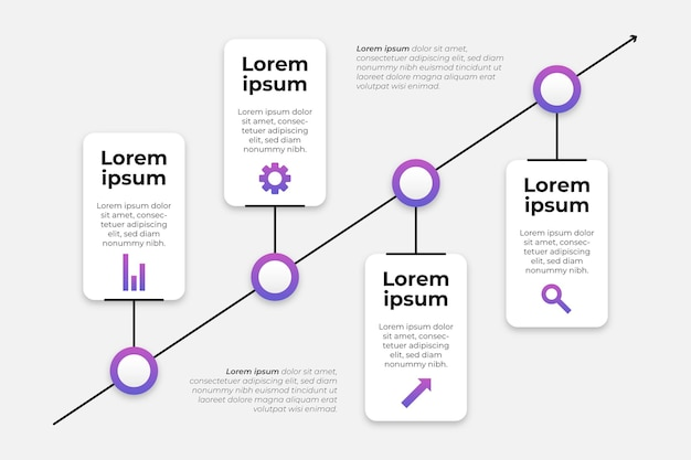 Verloop tijdlijn infographics sjabloon