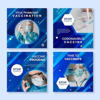 Verloop vaccin instagram postverzameling met foto's Gratis Vector