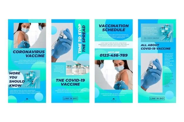 Verloop vaccin instagram verhalen set met foto's