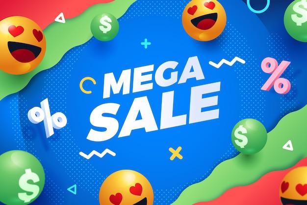 Verloop verkoop achtergrond met emoji