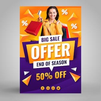 Verloop verkoop poster sjabloon met foto