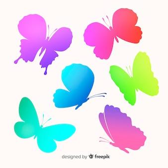 Verloop vlinder silhouetten vliegen