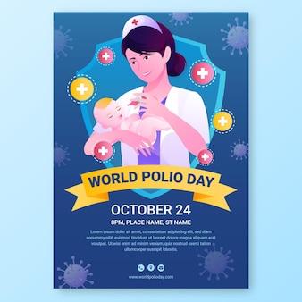 Verloop wereld polio dag verticale poster sjabloon