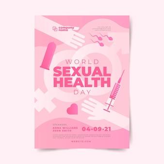 Verloop wereld seksuele gezondheid dag verticale flyer sjabloon