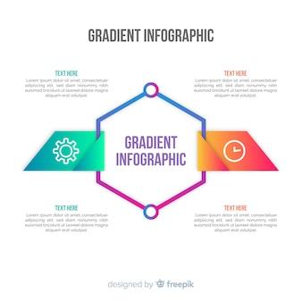 Verloop zeshoek infographic achtergrond