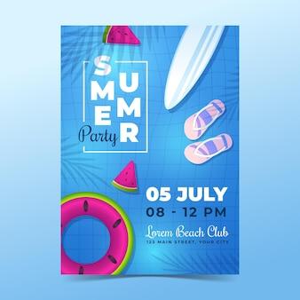Verloop zomer partij verticale poster sjabloon Gratis Vector