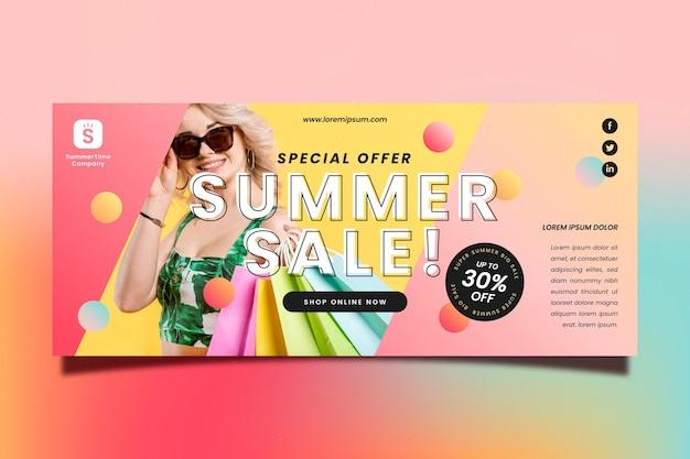 Verloop zomer verkoop sjabloon voor spandoek met foto
