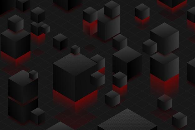 Verloop zwarte achtergrond met kubussen