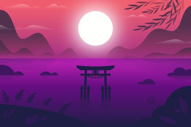 Verlooplandschap met toriipoort in het water