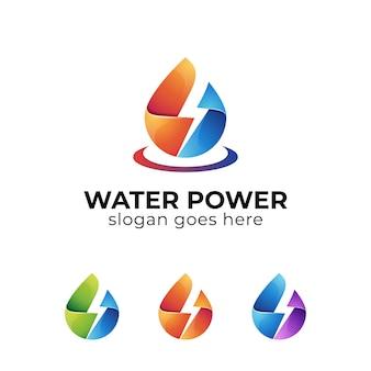 Verlooplogo's van flitsdruppel, oliegas, elektrisch waterkrachtlogo