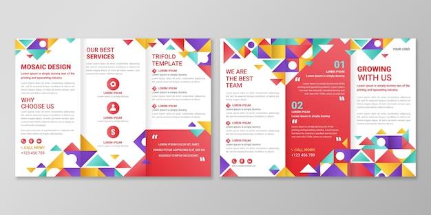 Verloopmozaïek driebladige brochuresjabloon