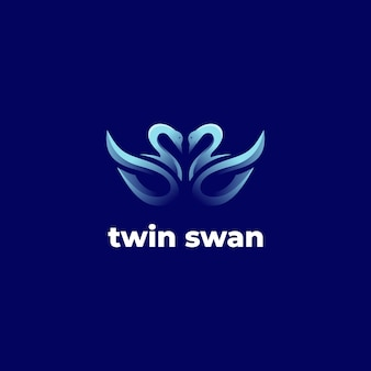 Verloopsjabloon voor tweelingzwaanlogo