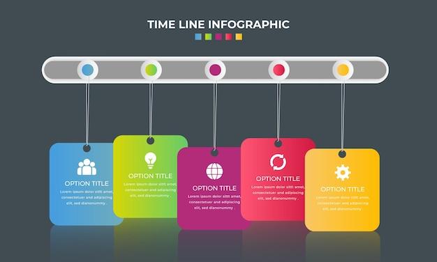 Verlooptijdlijn infographic elementenverzameling